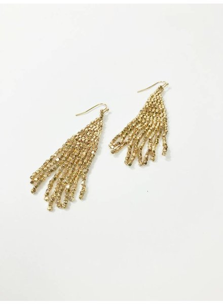 Mint + Major Metal Beaded Fringe Earrings