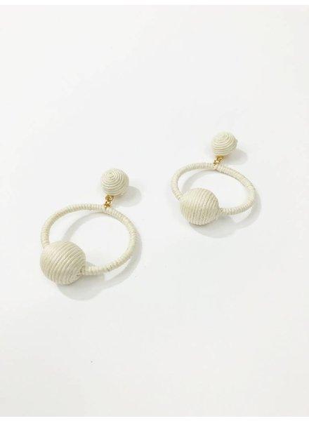 Mint + Major Woven Ball Hoop Earrings