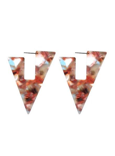 Mint + Major Triangle Tortoise Cutout Hoop Earrings