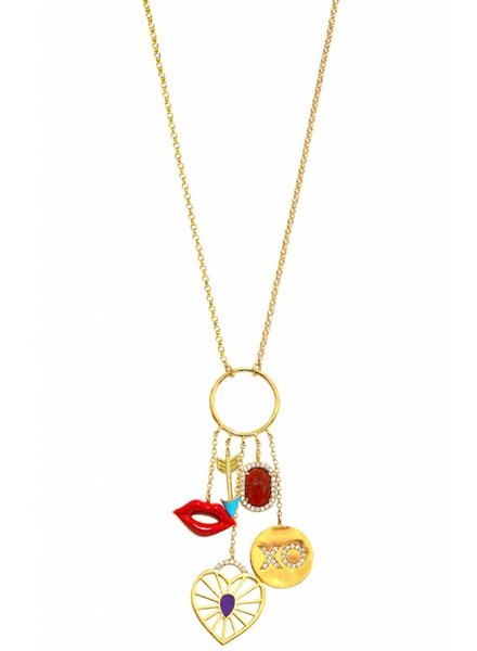 Tai Jewelry Love Multi Charm Necklace