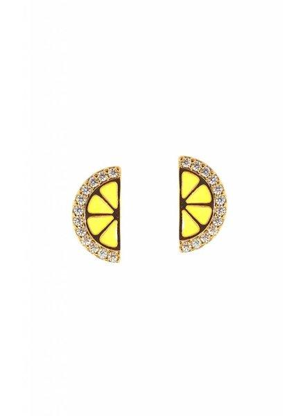 Tai Jewelry Lemon Slice Enamel Post Earrings