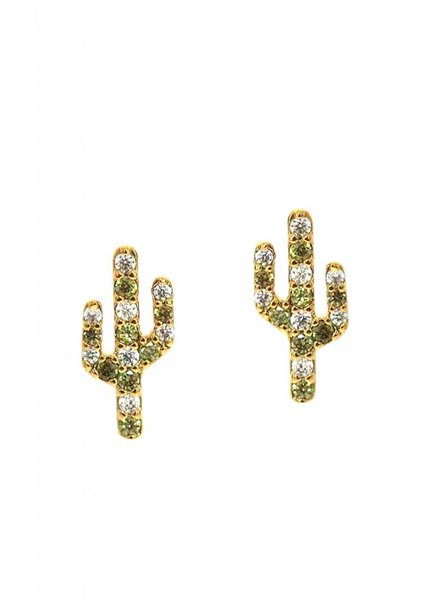 Tai Jewelry Pave Cactus Post Earrings