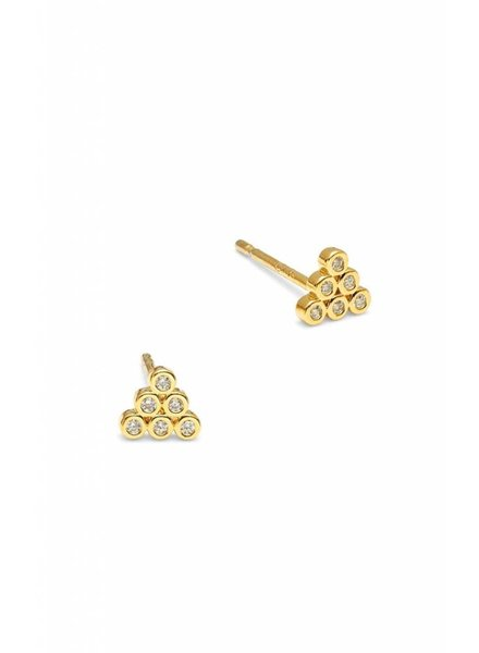 Tai Jewelry Pyramid Stud CZ Stud Earrings