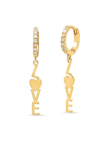 Tai Jewelry Gold Mini Hoops with Love Charm