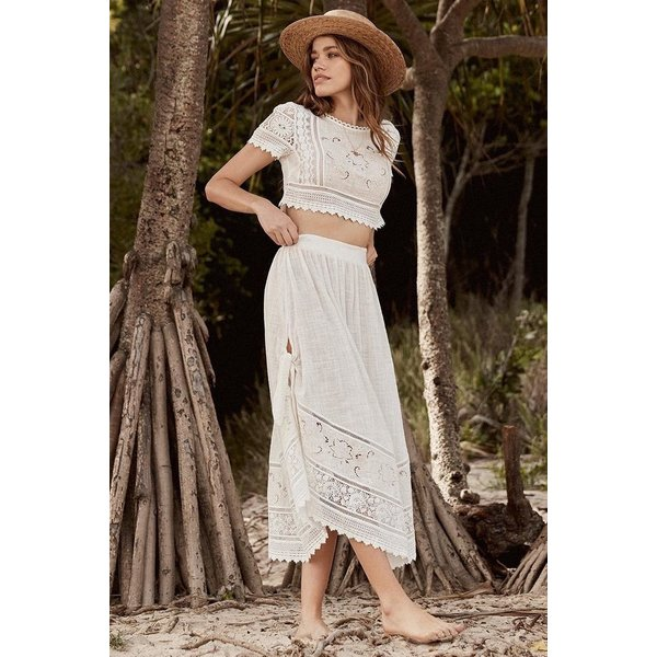 Spell Designs Spell Abigail Lace Tie Side Skirt White