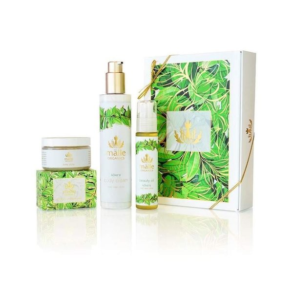Malie Organics Includes body cream, body gloss, cream soap, and beauty oil.