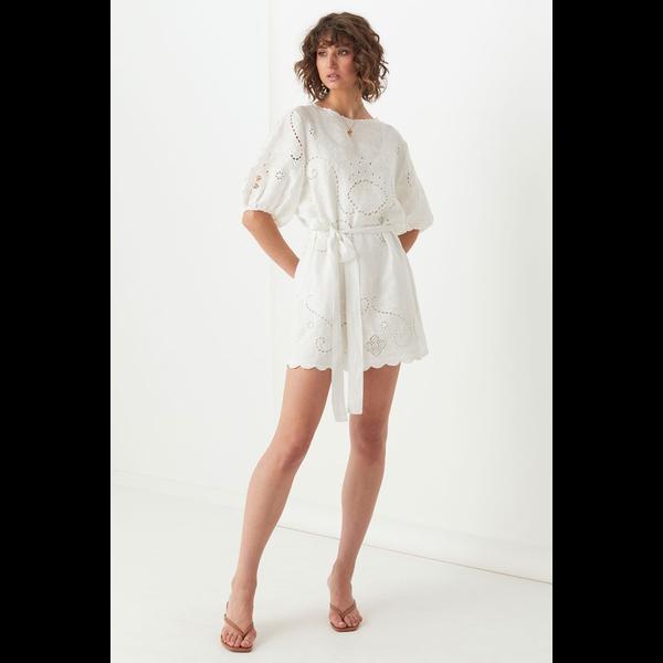 Spell Designs Spell Lala Linen Shift Dress, White