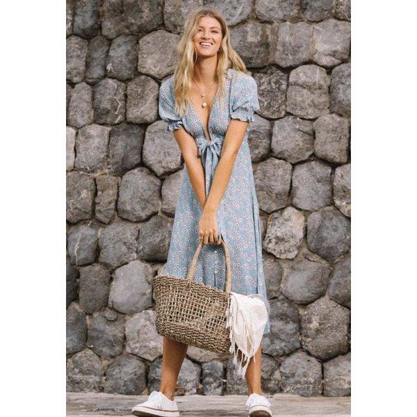 Kivari Kivari Ellery Floral Tie Front Midi Dress