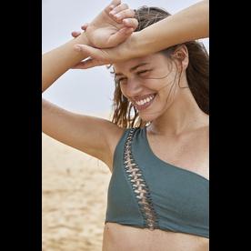 Mikoh Swimwear Mikoh Primavera Top Metal Ring Detail One Shoulder