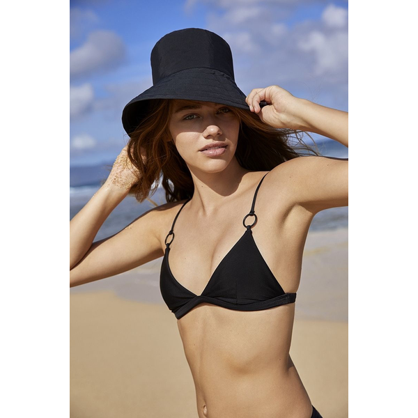 Mikoh Swimwear Mikoh Ponzu Top Matte Black Ring Detail Triangle