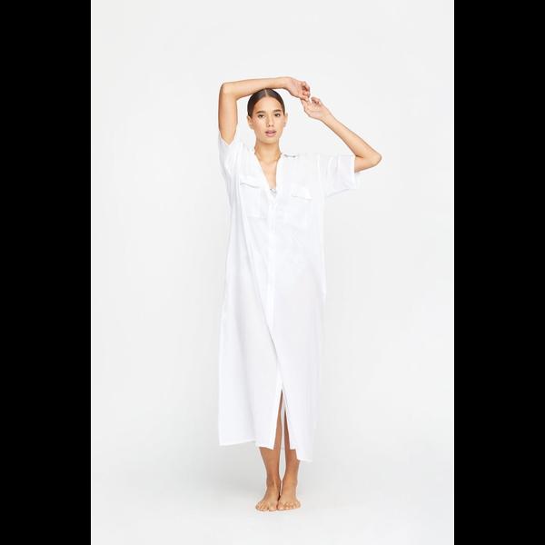Mikoh Swimwear Mikoh Anuhea Button Front Short Sleeve Maxi Dress