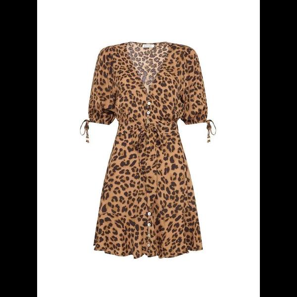 Kivari Kivari Hazel Leopard Tie Front Mini Dress