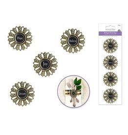 7.5x21.5cm Antique Metal Flower Tags Self-Stick  Inspirational