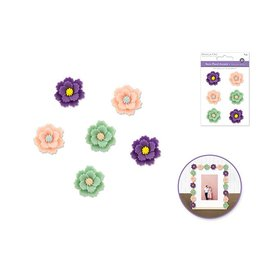 3D Resin Flower Accents Asst Colors Self-Stick C) Zinnia Dainty