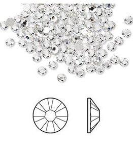 Flat back, Swarovski crystal rhinestone, crystal clear, foil back, 2.5-2.7mm Xilion rose (2058), SS9. Sold per pkg of 48.