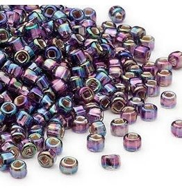 Seed bead, Dyna-Mites, glass, silver-lined translucent rainbow purple, #8 round. Sold per 40-gram pkg.