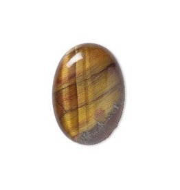 Firemountain Beads Cabochon, tigereye (natural), 25x18mm calibrated oval, B grade, Mohs hardness 7.