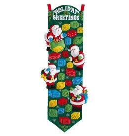 "Bucilla Advent Calendar Felt Applique Kit 9""X34"" Santa"