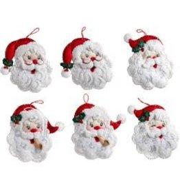 """Bucilla Felt Ornaments Applique Kit 4.5""""X6"""" Set of 6 Santa"""