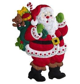 """Bucilla Felt Wall Hanging Applique Kit 15""""X24"""" Here Comes Santa"""