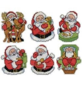 "Design Works Plastic Canvas Ornament Kit 3.5""X4"" 6/Pkg Jolly Santa (14 Count)"