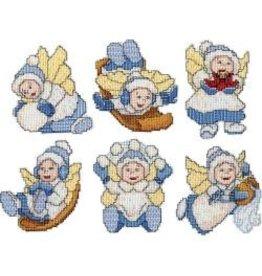 "Design Works Plastic Canvas Ornament Kit 3.5""X4"" 6/Pkg Winter Angel (14 Count)"