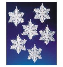 "Holiday Beaded Ornament Kit Snow Crystals 3.5"" Makes 6"