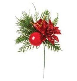 "Darice 8"" Poinsettia & Box Pick"