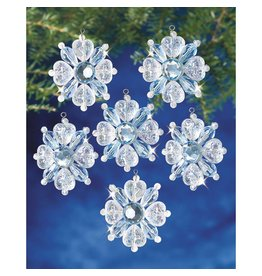 "Holiday Beaded Ornament Kit Filigree Snowflakes 1.75"" Makes 12"