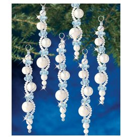 Holiday Beaded Ornament Kit Pearl Icicles Makes 6
