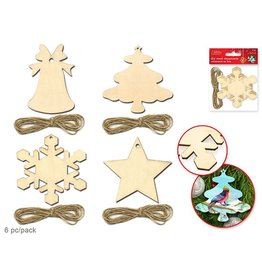 "Holiday Wood: 3.5"" Paintable Ornaments x6 w/Jute Cord Asst 12eax4styles A) Holiday Icons"