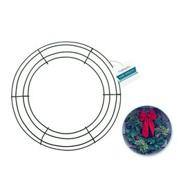 """MultiCraft Wire Wreath: 14"""" Green 4-Ring"""
