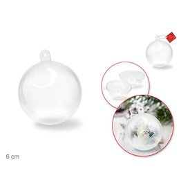 Multi Craft 6cm DIY Clear Ornament Ball 'Snap-Tite' Plastic