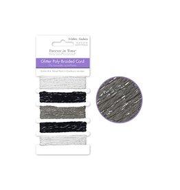 10m Glitter Poly-Braided Cord 2m x 5styles C) Classic