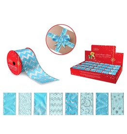 "Holiday Ribbon: 2.5""x3yds Sheer Wired Accents in PDQ 4eax8styles C) Blue"