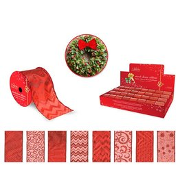 "Holiday Ribbon: 2.5""x3yds Sheer Wired Accents in PDQ 4eax8styles A) Red"