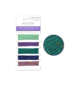 10m Glitter Poly-Braided Cord 2m x 5styles B) Glam