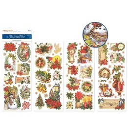 """MultiCraft Holiday Stickers: 4.75""""x11.75"""" Glitter Embossed Elegance Asst 12eax4styles E) Holiday Traditions"""