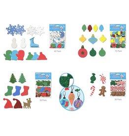 Seasonal Wonders: Foam-Fun Sticker Shapes 3-Pouch Glitter Asst 12eax4style A) Holiday