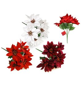 "Seasonal Décor: 10"" Poinsettia Bush 5-Head Soft-Touch Asst 3styles Red x24/White x12/Burg x12"