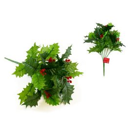 "Seasonal Décor: 12"" Holly Bush w/Berries & 6 Stems"
