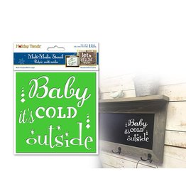 """Holiday Painting & Decor: 6""""x6"""" Word Decor Stencil A) Baby It's Cold Outside"""