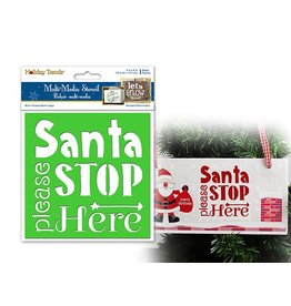 "Holiday Painting & Decor: 6""x6"" Word Decor Stencil B) Santa Please Stop Here"