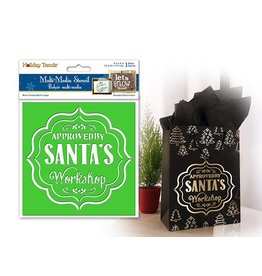 "Holiday Painting & Decor: 6""x6"" Word Decor Stencil D) Approved By Santas Workshop"