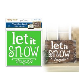 "Holiday Painting & Decor: 6""x6"" Word Decor Stencil E) Let It Snow"