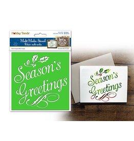 "Holiday Painting & Decor: 6""x6"" Word Decor Stencil F) Season's Greetings"