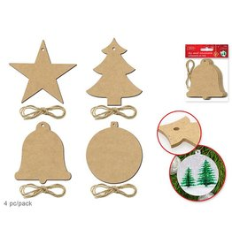 "4.5"" Paintable Ornaments x4 w/Jute Cord Asst 4styles Holiday Icons"