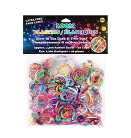 WONDER LOOM Loom Bands - Two Tone & Translucent Glow-In-The Dark - 1200 pcs.