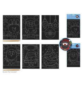 Seasonal Wonders: DIY Scratch Art 3 Asst Sheets w/Tool Asst 18eax2styles A) Holiday Pals