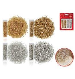 24g Micro Bead & Deco Flake Accent Vials x4 (6g/Vial) A) Gold/Silver